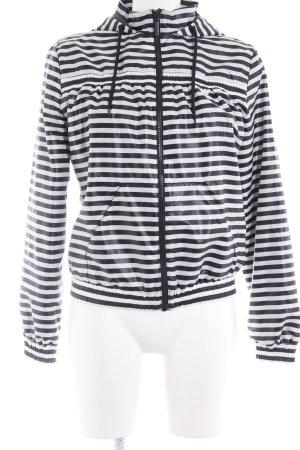 Adidas Sportjacke schwarz-weiß Ringelmuster Casual-Look