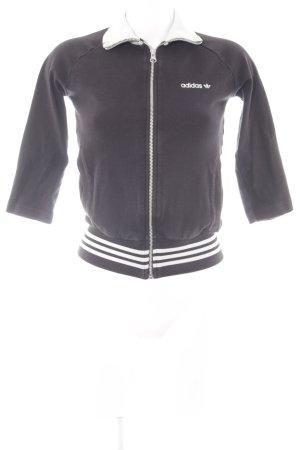 Adidas Sportjacke schwarz-weiß Schriftzug gestickt Casual-Look