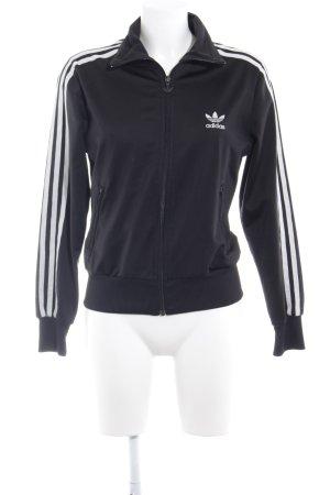 Adidas Sportjacke schwarz-weiß Schriftzug gestickt sportlicher Stil