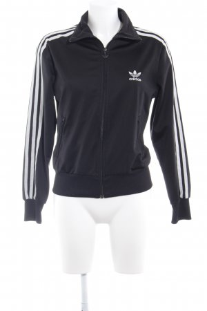 Adidas Sports Jacket black-white embroidered lettering athletic style