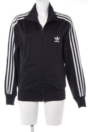 Adidas Sportjacke schwarz-weiß Streifenmuster sportlicher Stil