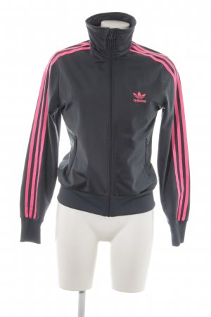 Adidas Sportjacke taupe-neonpink Streifenmuster Casual-Look