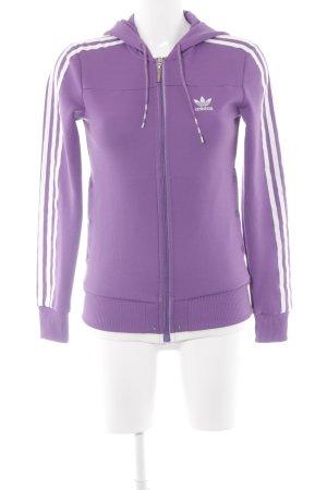 Adidas Sportjacke weiß-blauviolett Streifenmuster sportlicher Stil