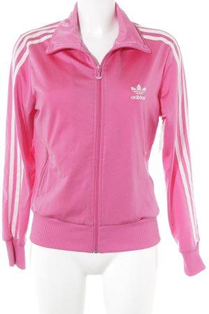 Adidas Sportjacke weiß-pink sportlicher Stil