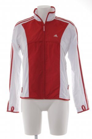 Adidas Sportjacke weiß-rot Streifenmuster Casual-Look