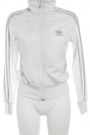 Adidas Sports Jacket white-silver-colored simple style
