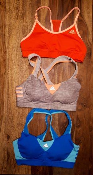 Adidas Sportsbra 3er Set - Blau, Koralle und Grau-Rosa - UNGETRAGEN