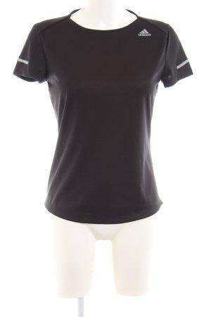 Adidas Sportshirt schwarz Schriftzug gedruckt Casual-Look