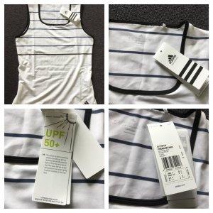 Adidas T-shirt de sport blanc-bleu foncé lycra