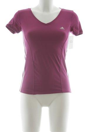 Adidas Sportshirt violett-weiß grafisches Muster schlichter Stil
