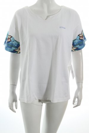 Adidas Sportshirt weiß-blau Blumenmuster sportlicher Stil
