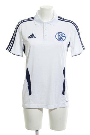 Adidas Sportshirt weiß-dunkelblau Schriftzug gedruckt sportlicher Stil