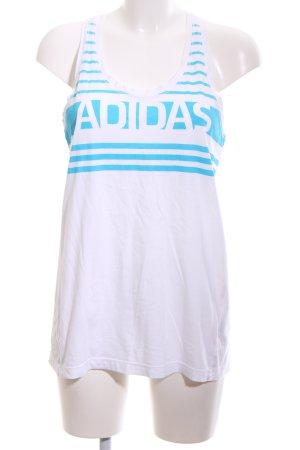 Adidas Top deportivo sin mangas blanco-azul estampado temático look casual