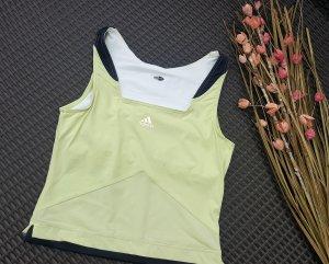 Adidas Débardeur de sport jaune citron vert-gris anthracite tissu mixte