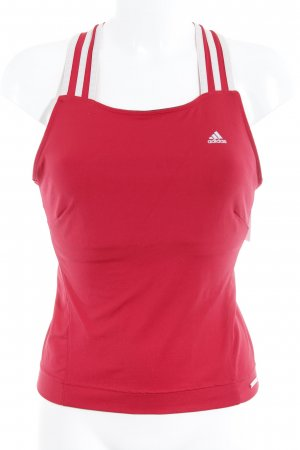 Adidas Sporttop rood-wit gestreept patroon casual uitstraling