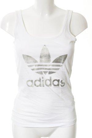 Adidas Sporttop weiß abstraktes Muster sportlicher Stil