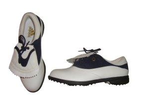 Adidas Summer Rain Golf Schuhe Golfschuhe Leder Echtleder Glattleder blau weiß Gr 4,5 37 neu