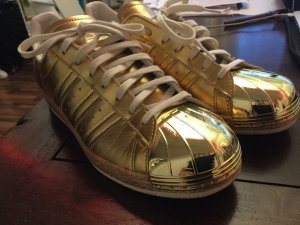 ADIDAS SUPERSTAR 80^S TRAINERS METALLIC GOLD WITH METAL TOE