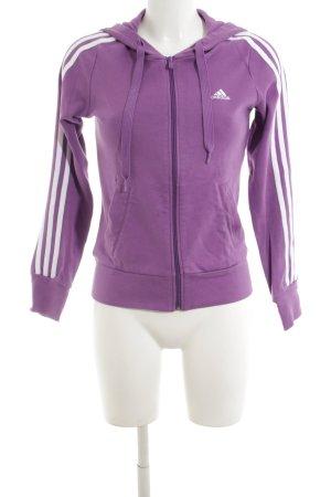 Adidas Sweatjacke lila Streifenmuster Casual-Look