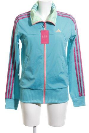 Adidas Giacca fitness turchese-rosa motivo a righe stile atletico