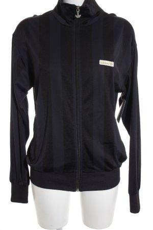Adidas Sweatjacke dunkelblau-schwarz Streifenmuster sportlicher Stil