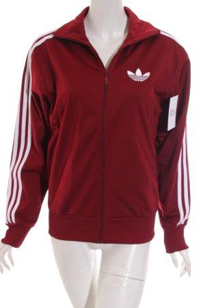Adidas Sweatjacke dunkelrot-weiß sportlicher Stil