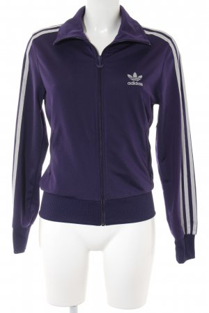 Adidas Sweat Jacket dark violet-silver-colored athletic style