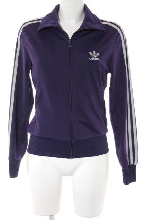 Adidas Sweatjacke dunkelviolett-silberfarben sportlicher Stil