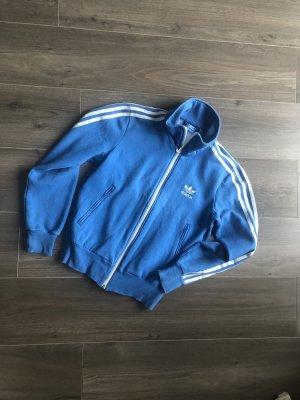 Adidas Chaqueta de tela de sudadera azul neón-blanco