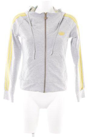 Adidas Sweatjacke hellgrau-dunkelgelb Streifenmuster sportlicher Stil