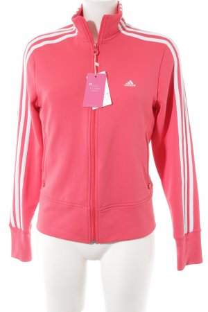 Adidas Veste sweat rouge framboise-blanc style universitaire