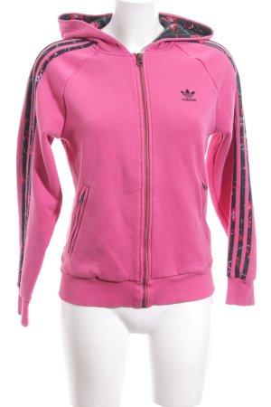 Adidas Sweatjacke pink schwarz Blumenmuster schlichter Stil