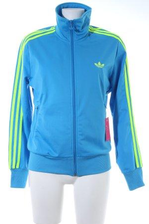 Adidas Sweatjacke stahlblau-neongrün Streifenmuster sportlicher Stil