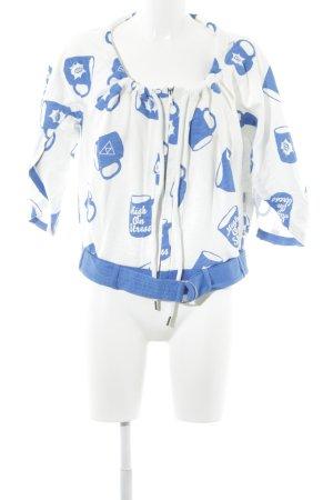 Adidas Sweatjacke weiß-blau Motivdruck extravaganter Stil