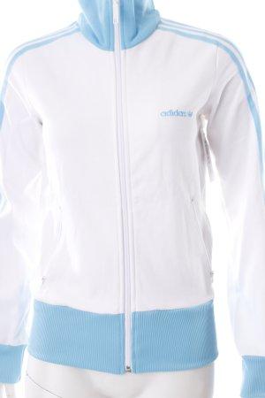 Adidas Sweatjacke weiß-hellblau Streifenmuster sportlicher Stil
