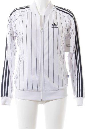 Adidas Sweatjacke weiß-schwarz Streifenmuster sportlicher Stil