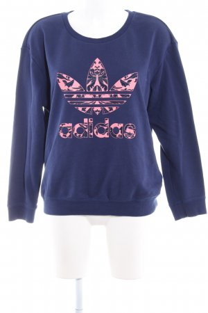 Adidas Sweat Shirt blue-pink printed lettering casual look