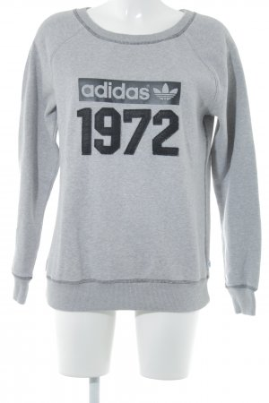 Adidas Sweat Shirt grey-black printed lettering casual look