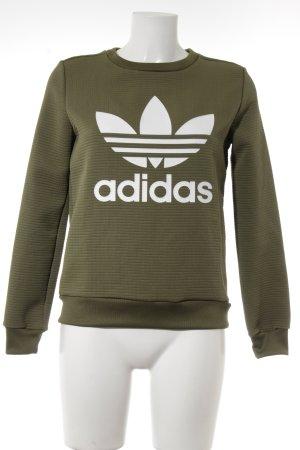 Adidas Sweatshirt groen-grijs-wit gedrukte letters atletische stijl