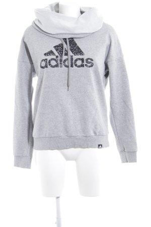 Adidas Sweat Shirt light grey-black placed print casual look