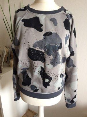 Adidas Sweatshirt neu 34 XS grau Camo Camoflage Muster Herbst