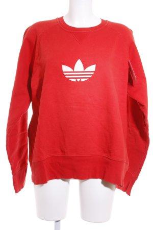 Adidas Sweatshirt rot-weiß Motivdruck Urban-Look