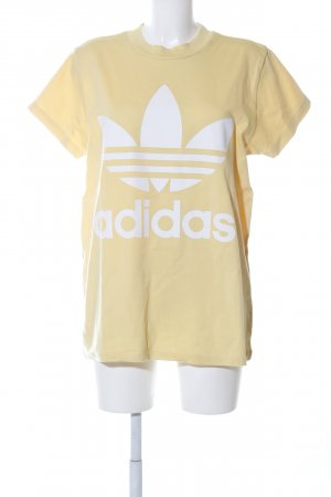 Adidas T-Shirt blassgelb Motivdruck Casual-Look