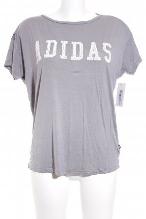 Adidas T-Shirt grau-dunkelgrau florales Muster Urban-Look