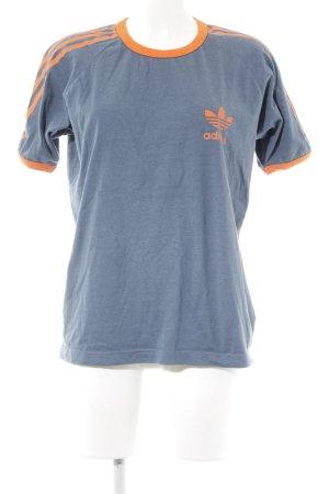 Adidas T-Shirt graublau-neonorange Casual-Look