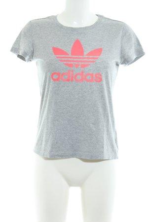 Adidas T-Shirt hellgrau-pink meliert Casual-Look