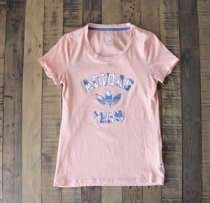 Adidas T-Shirt lachs blau atomic pink Seide Gr. M