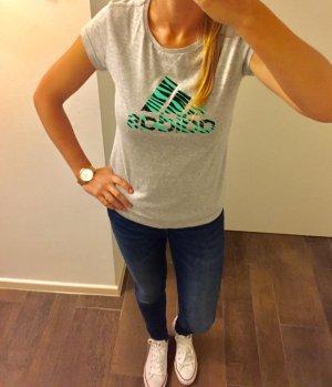 Adidas T-Shirt Oberteil Tigermuster Tee grau Türkis kurzärmlig