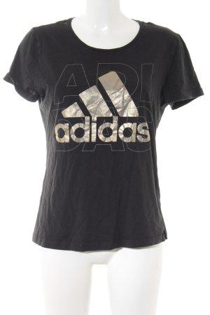 Adidas T-Shirt schwarz-goldfarben Motivdruck Casual-Look