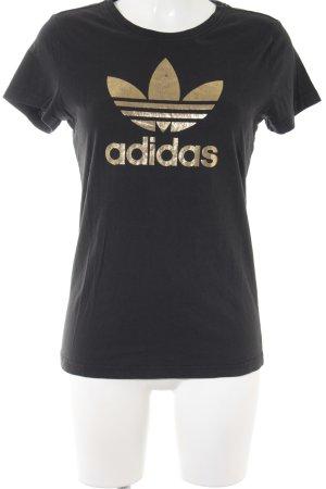 Adidas T-Shirt schwarz-goldfarben Schriftzug gedruckt Casual-Look